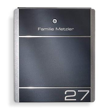 Metzler-Trade Briefkasten Edelstahl Anthrazit - 38,5 x 33 cm groß - mit  Gravur Beschriftung Hausnummer & Name - RAL 7016 - zur Wand-Montage (ohne  ...