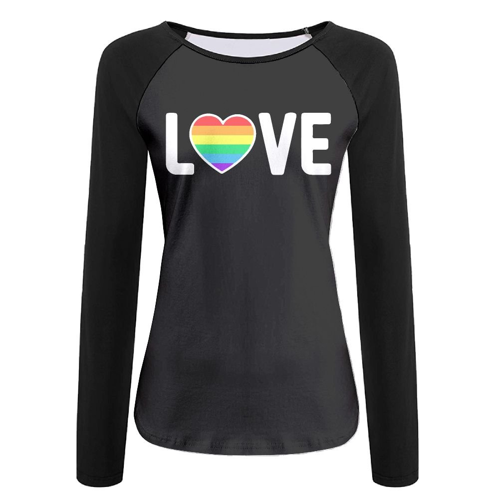 LOGZDRll Women's Gay Pride Love-1 Graphic Long-Sleeve Tee