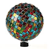 Lily's Home Colorful Mosaic Glass Gazing Ball, Designed with a Stunning Holographic Square Mosaic Pattern to Bring Color and Reflection to Any Home and Garden, (10'' Diameter)