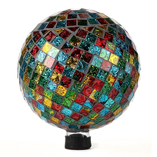 "Lily's Home Glass Gazing Ball | Holographic Effect, Stunning Rainbow Color Reflection Effect, Mosaic Design, Red, Blue, Gold & Green Mirrors, Attracts Good Fortune, Lovely Centerpiece, 10"" Dia."