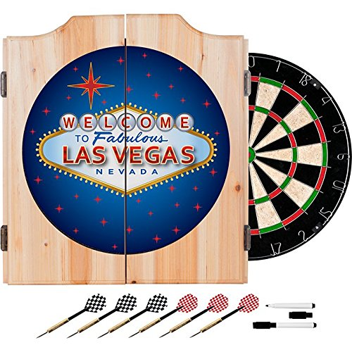 Welcome to Las Vegas Sign Design Deluxe Solid Wood Cabinet Complete Dart Set