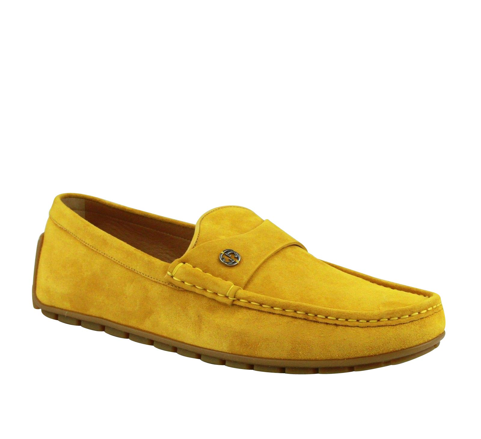 9af6983a128 Gucci Silver Interlocking G Yellow Suede Leather Loafer Shoes 386587 7008  (9.5 G   10