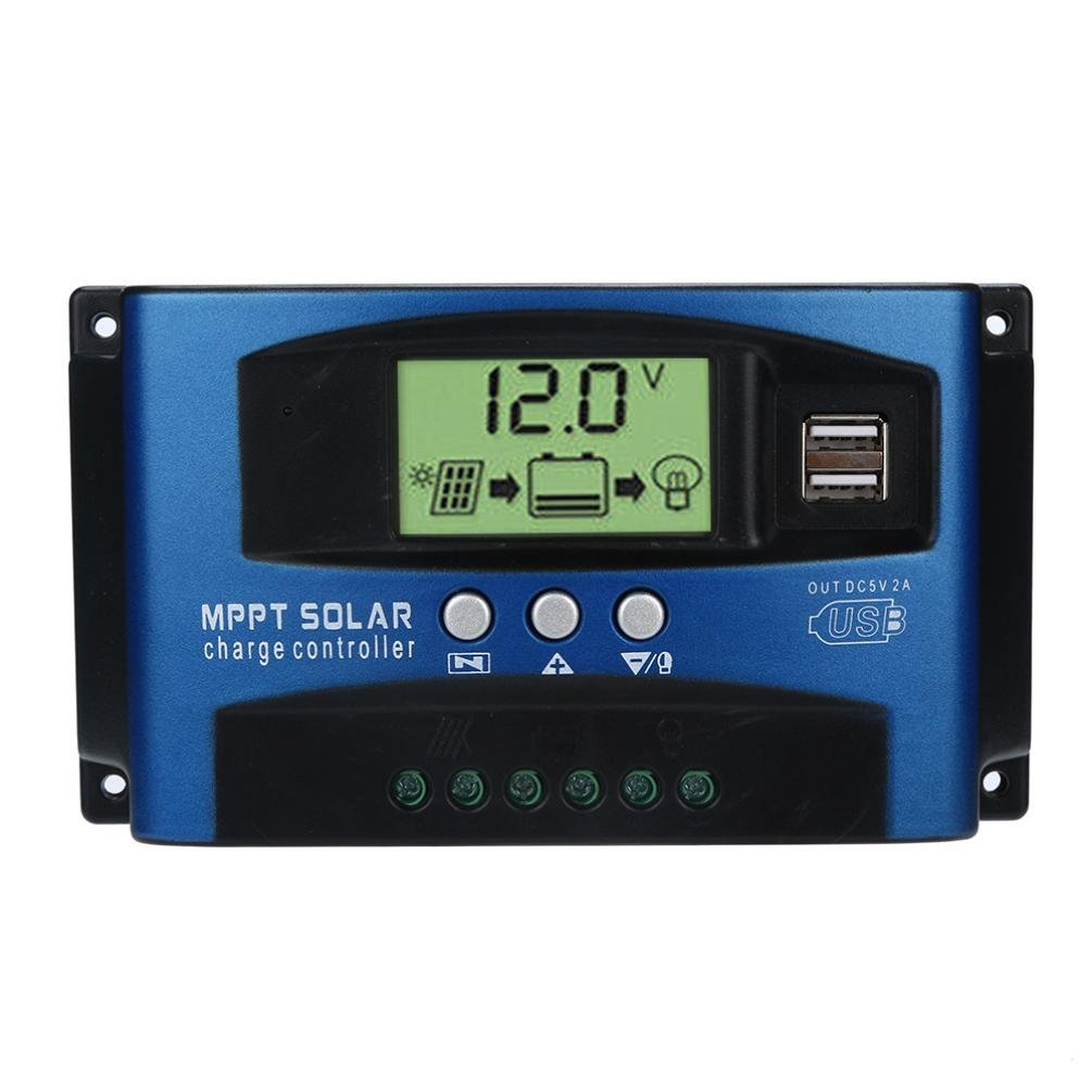 40/50/60/100A USB12V-24V Charge Controller with Dual USB Port Charger and LCD Digital Display - Solar Panel Regulator Battery Charge Controller (100A)