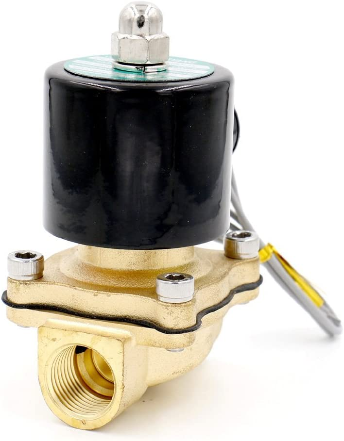Baomain 1/2 inch Brass Electric Solenoid Valve Water Air Fuels N/C Valve AC 220V