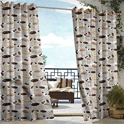 crabee Fashions Drape Coffee,Espresso Cappuccino Drink,W72 xL84 Outdoor Curtain for Patio,Outdoor Patio Curtains ()