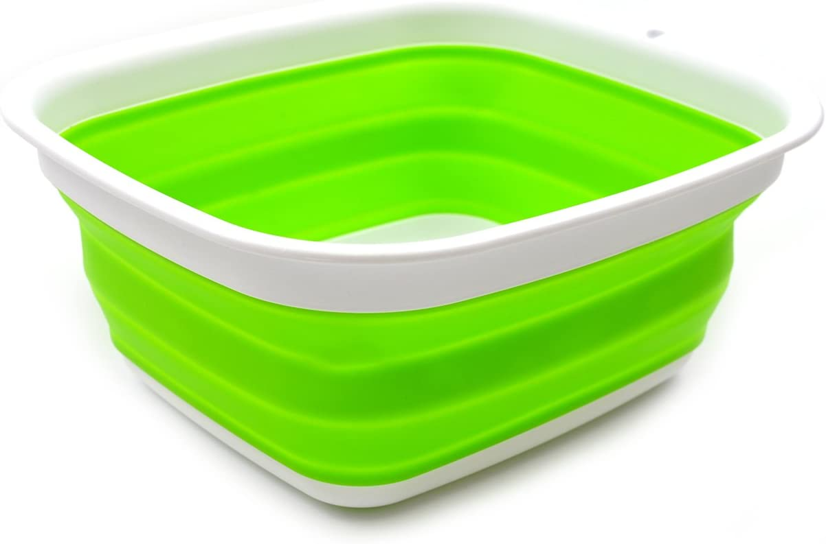 SAMMART 7.7L (2 Gallon) Collapsible Tub - Foldable Dish Tub - Portable Washing Basin - Space Saving Plastic Washtub (Green, S)