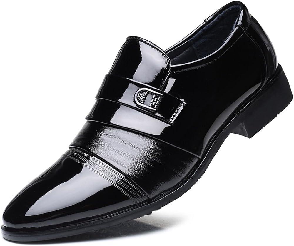 MXL Mens Business Oxfords Block Heel Slip On Leisure Shoes Dress Shoes