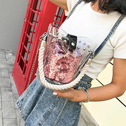 à main mignon épaule Rawdah Main Fille Sac à Mini à Imprimer Rose bandoulière Transparent Paillettes Petit Mode une Sac Sac Filles Femmes Personnalité à dIRIwq1