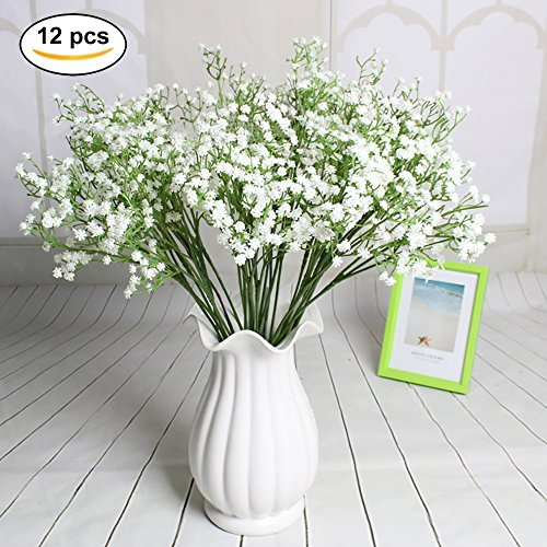Beautiful Baby Flower Bouquet (Artificial Baby Breath 12pcs Real Touch Fake Gypsophila Plants for Wedding Home Party Bridal Bouquet DIY Decoration(White))