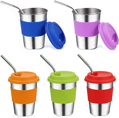 8oz Spill Proof Kids Cups Stainless Steel Baby Cup with Silicone Lids and Grips for Children Metal Drinking Glasses Rommeka Sippy Cups for Toddlers