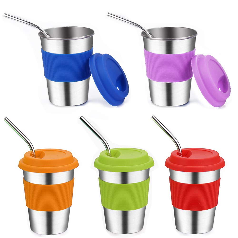 Stainless Steel Kids Cups with Lids,Vermida 5 Pack 12 OZ Metal Straw Cups with Lids and Sleeves,Unbreakable Metal Kids Sippy Cups,Metal Tumblers with Lids for Kids and Adults (5 color)