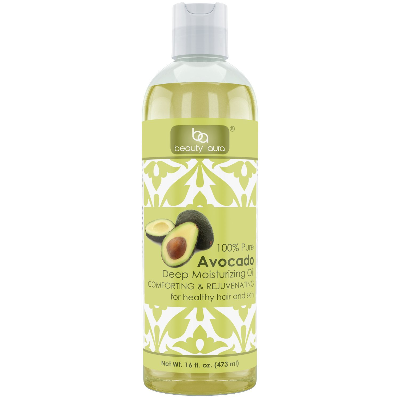 Beauty Aura 100% Pure Avocado Oil - 16 Fl Oz - For Healthy Hair, Skin & Nails.