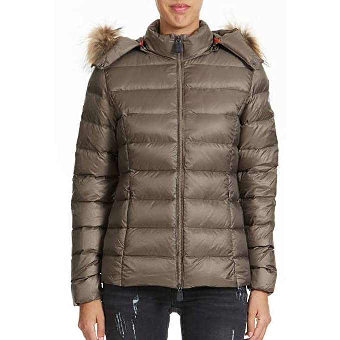 JOTT Jott Luxe Double Down Fur Hooded Womens Jacket Taupe XL ...