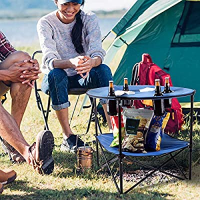 Wakeman Outdoors Camp Table-Round 2-Tier Folding Table with 4 Cupholders and Carrying Bag-for Camping, Beach, Picnic, Sporting Events, and More : Sports & Outdoors