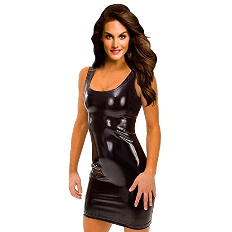 754fb7b8f44 KIMODO Women s Synthetic Leather Metallic Wetlook Babydoll Clubwear Mini  Dress (Free
