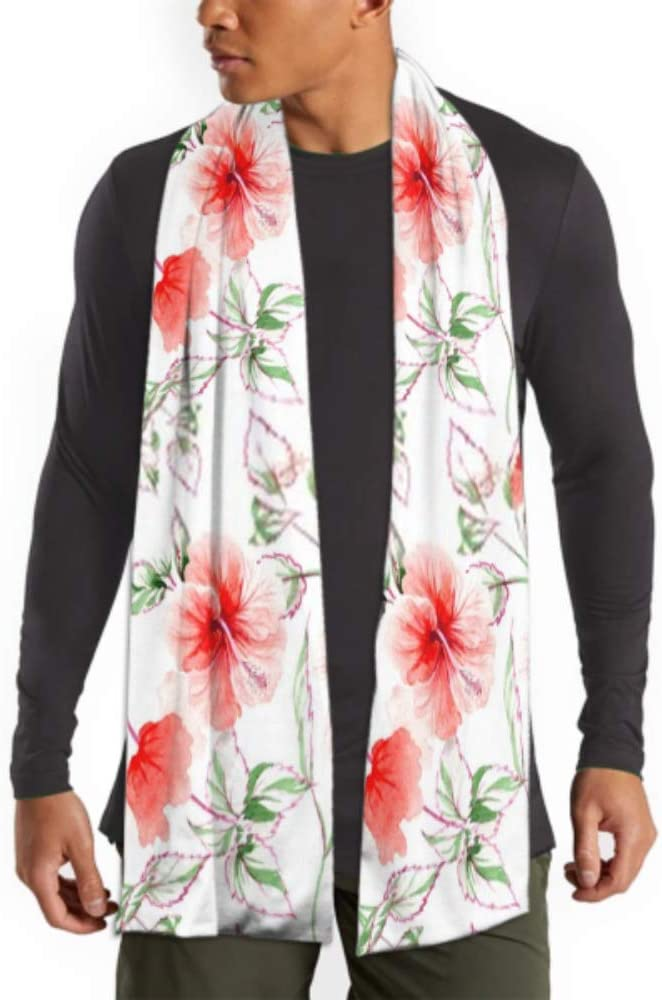 Mens And Women Winter Fashion Scarf Watercolor Floral Botanical Pattern Seamless Background Long Plain Warm Soft Scarves For Men Cotton Scarves F