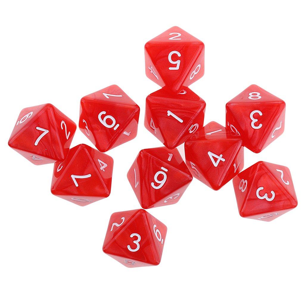 MagiDeal 10pcs Dés 8 Faces D8 Dice Polyédrique en Acrylique pour D& D TRPG Jeux de Table - Rouge