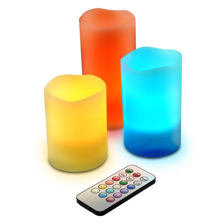 Set 3 Candele Multicolori Candela Luce a led RGB con Telecomando maxcasa