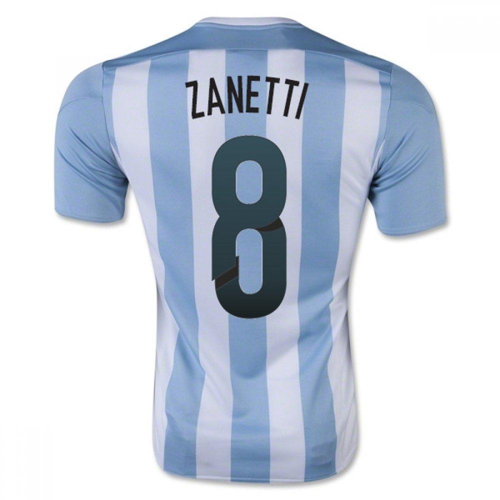 2015-16 Argentina Home Football Soccer T-Shirt Trikot (Javier Zanetti 8) - Kids