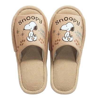 8688a448e24569 Amazon.com  Senko Peanuts Snoopy Slipper House Shoes Size about 7.5 Symbol  Beige  Home   Kitchen