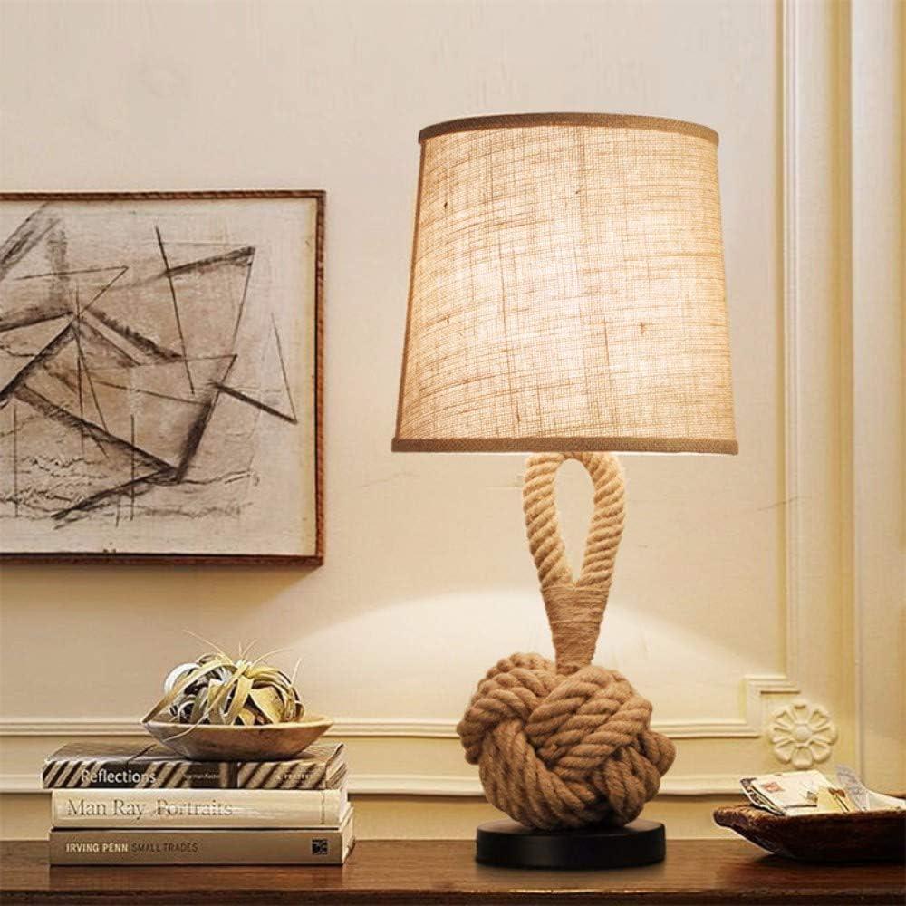 WangWDN Lámpara de mesita de Noche LED Cuerda de cáñamo Hecha a Mano Lámpara de Noche de Hierro Forjado Escritorio Luz de sueño Decoración para el hogar, E27 Dormitorio Sala de Estar Beige