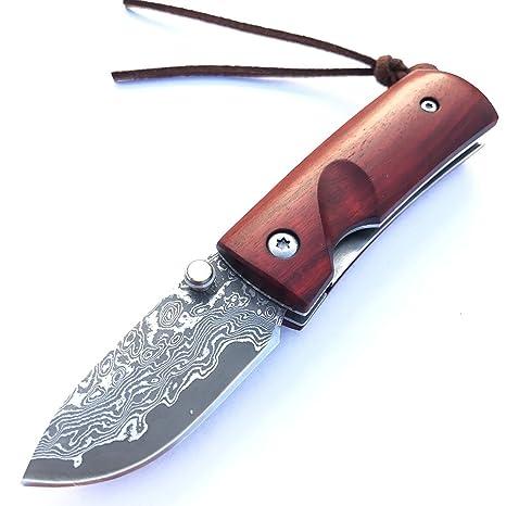 shootey navaja damasco acero pequeño mini madera navaja de plegable llavero cuchillo de bolsillo - hoja 4,5 cm