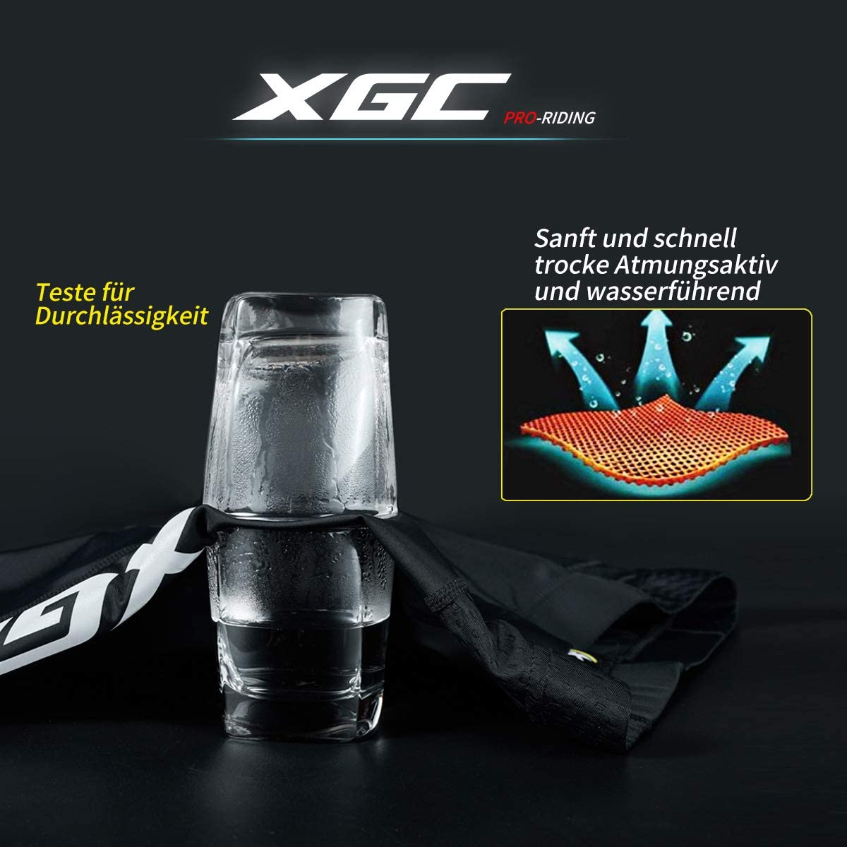 XGC sportivi in spugna da ciclismo per la bicicletta da uomo elastici 3D pantaloncini corti traspiranti con imbottitura ad alta densit/à