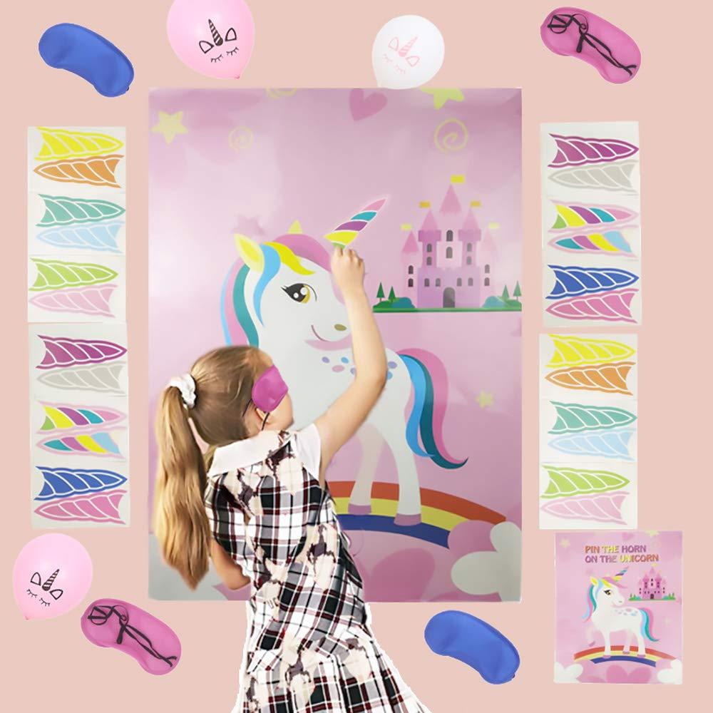 Rose QearFun Party Supplies Pin Games Pin The Horn sur la Licorne avec 2 Les Yeux band/és et 20 Ballons de Licorne et des Autocollants de Tatouage pour Les Enfants