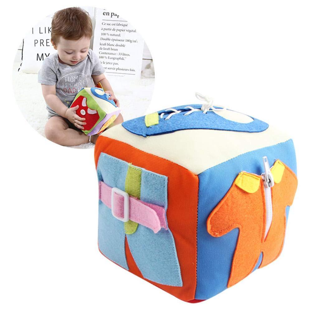 02b05bb7e Luerme Niños pequeños Aprendizaje temprano Habilidades básicas para la vida  Niños Actividad de viaje de peluche Bebé Aprende a vestir Cube Juguetes de  ...