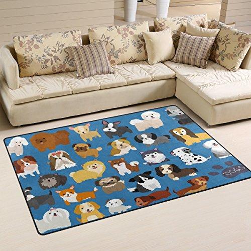 WOZO Cute Puppy Pug Dog Area Rug Rugs Non-Slip Floor Mat Doormats for Living Room Bedroom 60 x 39 inches