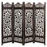 Deco 79 Wood 4-Panel Screen, 80 by 72-Inch