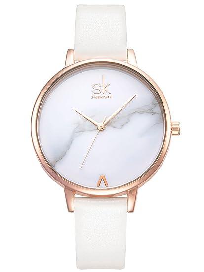 Alienwork Reloj Mujer Relojes Piel sintética Blanco Analógicos Cuarzo Oro Rosa Impermeable Ultra-Delgada: Amazon.es: Relojes