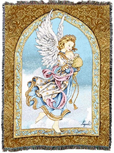 Pure Country Weavers | Guardian Angel and Baby Woven Tapestry Throw Blanket with Fringe Cotton USA 72x54