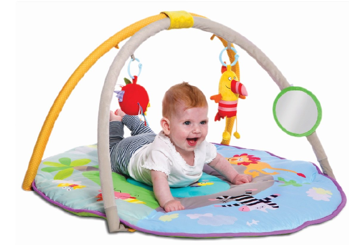 Taf Toys Jungle Pals Gym with Play Mat Best for New-Born Babies, Easier Development Parenting, Colourful, Thickly Padded Mat, Lightweight, Portable, Detachable Baby Play Gym, Best Gift