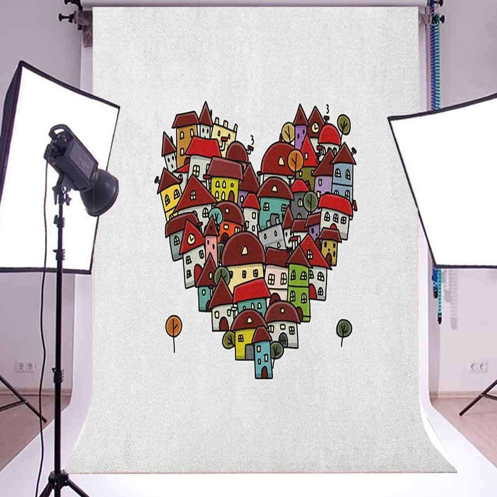 8x12 FT City Vinyl Photography Background Backdrops,Love Heart Shaped Sketch Style Buildings Neighborhood Colorful Retro Illustration Background Newborn Baby Portrait Photo Studio Photobooth Props