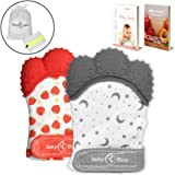 Teething Mittens (2 pcs) | Self-Soothing Unisex Teether Toys | Hypoallergenic Teething Glove for Boys and Girls | BPA-Free, Food-Grade Silicone Mitt | with Storage & Laundry Bag | Baby Shower Gift