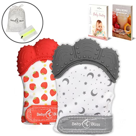 BabyBliss Teething Mittens (2 pcs) | Self-Soothing Unisex Teether Toys | Hypoallergenic Teething Glove for Boys and Girls | BPA-Free, Food-Grade Silicone Mitt | Baby Shower Gift