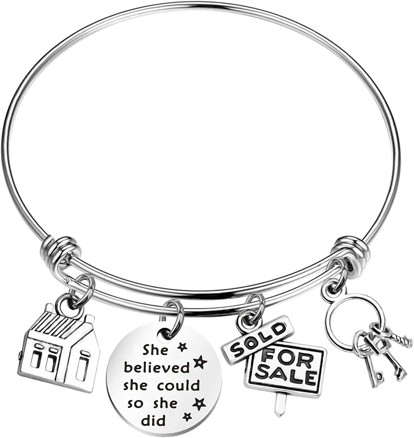 CHOORO Real Estate Agent Charm Bangle Realtor Jewelry Gift She Believed She Could New Home Gift