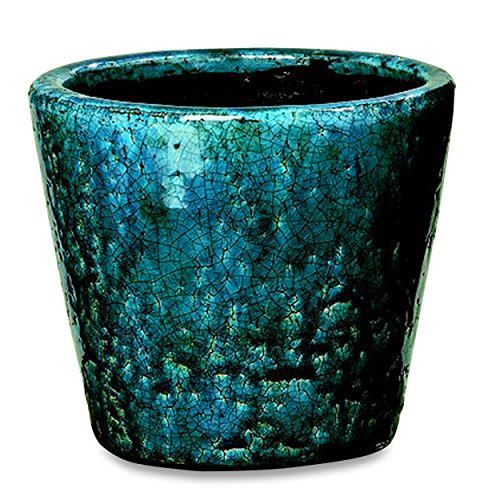 Whole House Worlds The Beach Chic Cone Cache Pot Planter, Terracotta, Turquoise Blue, Crackle Glaze, Distressed, Worn Patches, Shabby Style, 6 1/4 Diameter x 5 1/2 Inches Tall by Whole House Worlds