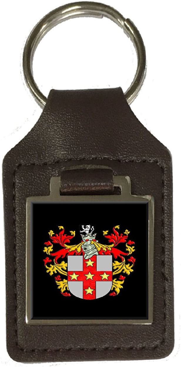 Adams Heraldry Coat Of Arms Brown Leather Keyring Engraved