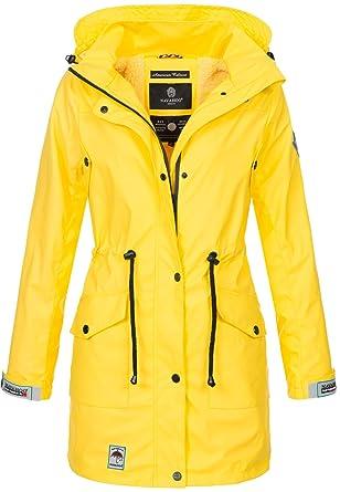 Navahoo Damen Regenjacke Regenmantel lang Teddyfell Jacke Mantel Kapuze  B678  Amazon.de  Bekleidung edfdfc414f