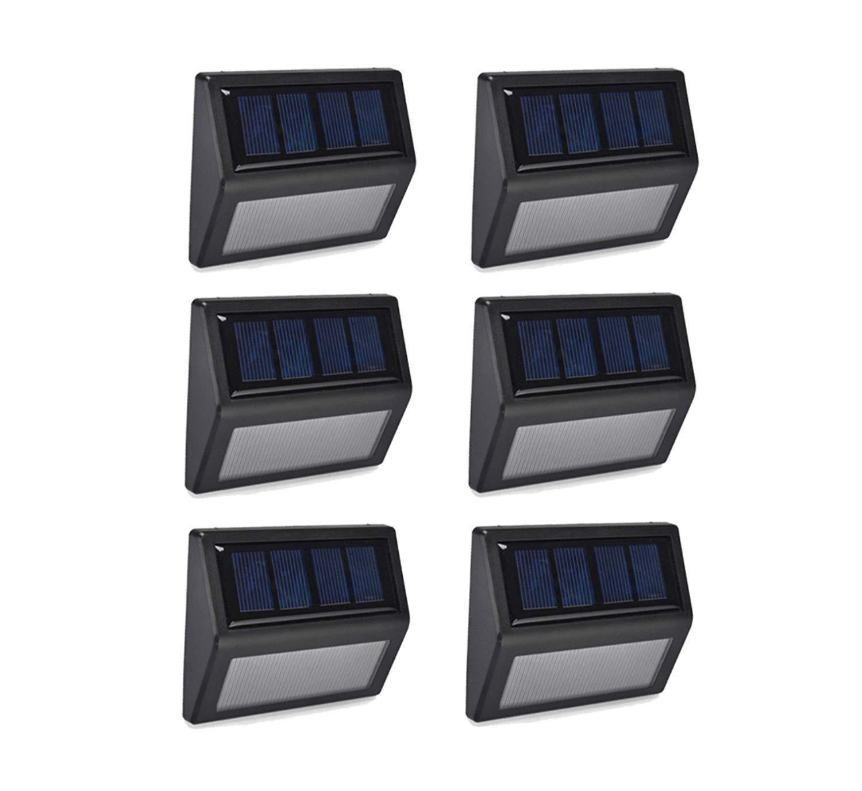 6 Pack Solar Powered Wall Light 6 LED Outdoor Stair Step Light/Wireless Waterproof Light-Sensor for Fence Patio Deck Garden Outside Wall Walkway (White Light)