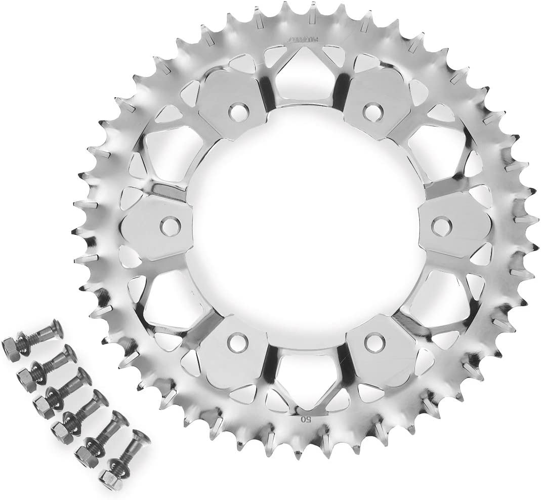 JFG RACING CNC 50T Rear Chain Sprocket For Yamaha YZ125 99-14 YZ450F 03-14 YZ250F 10-14 YZ250 99-14 WR250F 99-00 YZ400F 99 WR400F 99-01 YZ426F 00-02 WR426F 01-02 TTR230 05-14