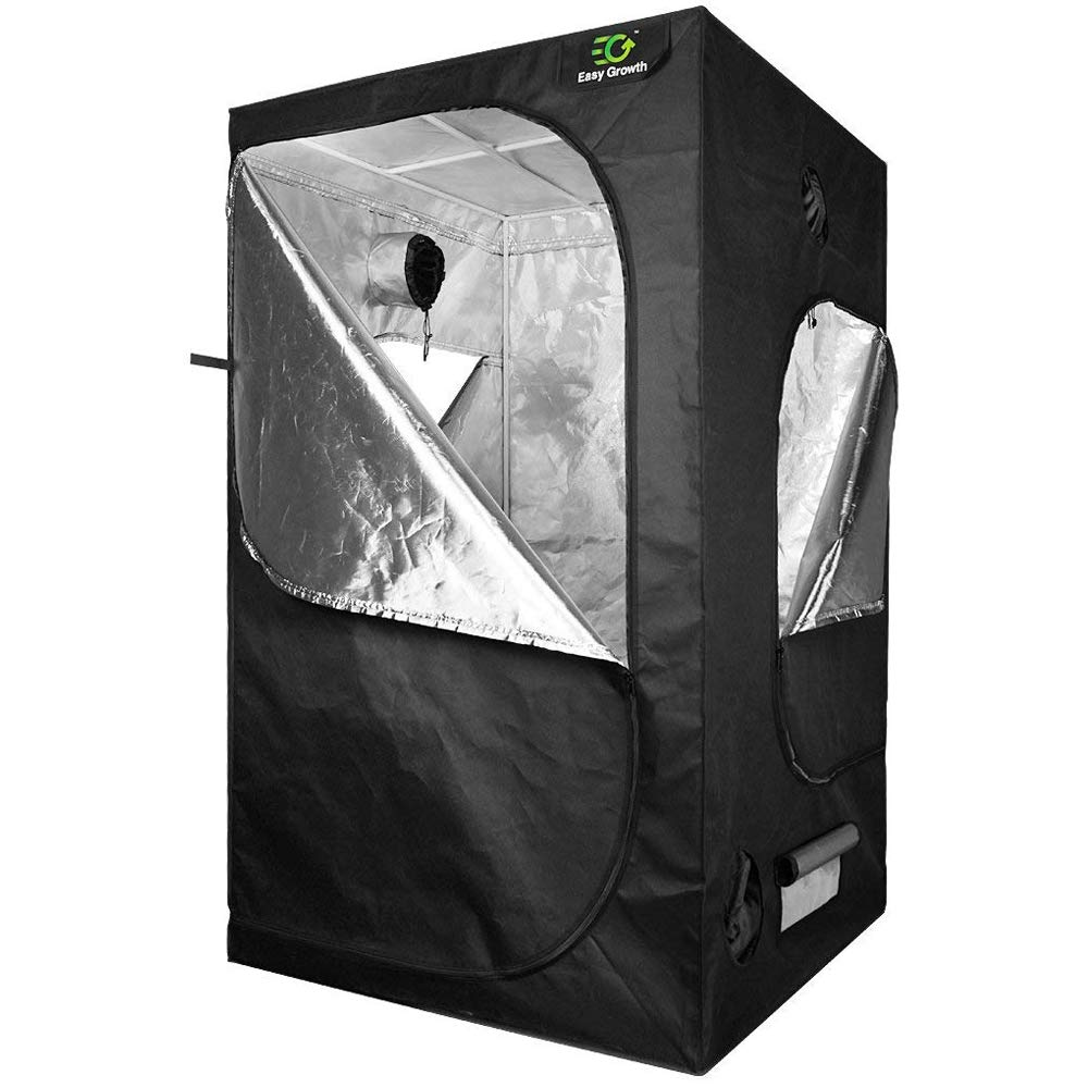 EasyGrowth 40''x40''x80'' Reflective Mylar Hydroponic Grow Tent with Observation Window and Waterproof Floor Tray for Indoor Plant Growing