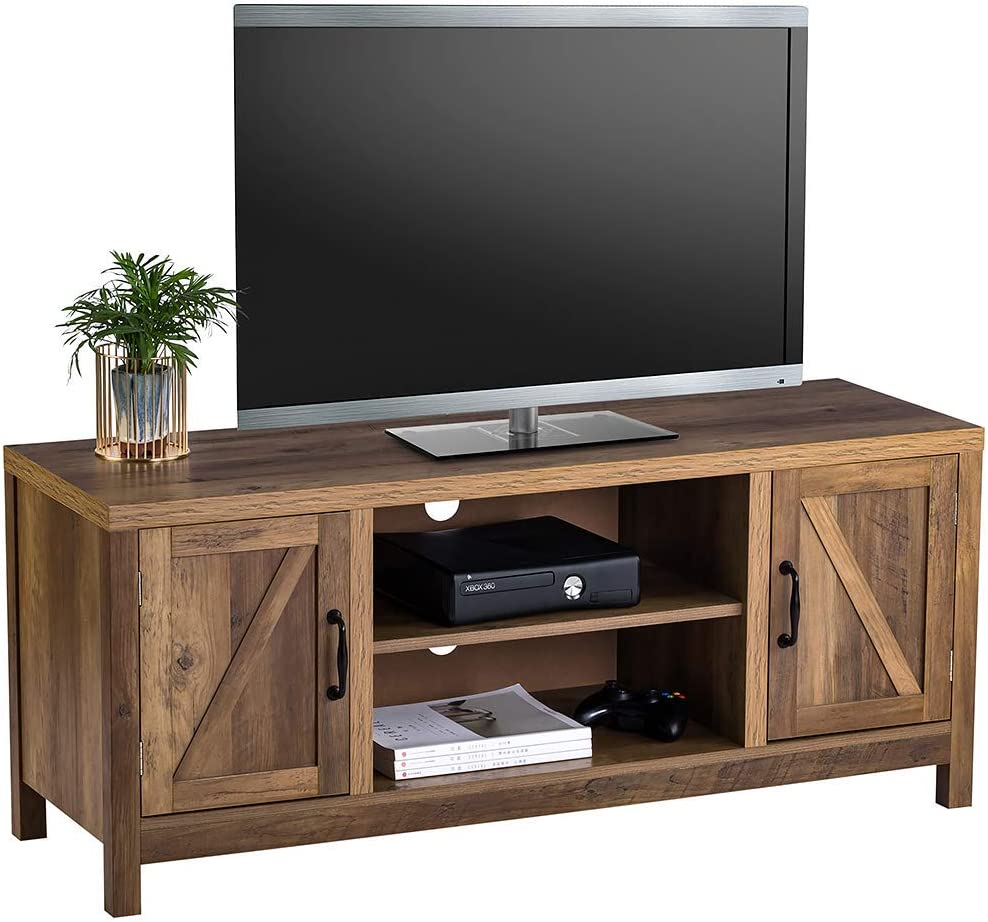 ChooChoo Modern Farmhouse Double Barn Door TV Stand with Storage for TVs up to 55 Inches, 47 inch, Rustic Oak