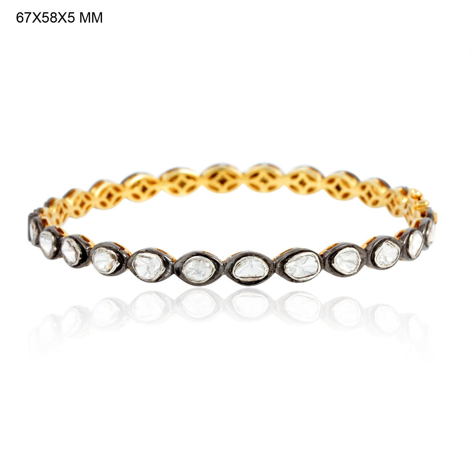 3.15ct Rose Cut Diamond 14kt Gold Bangle Sterling Silver Gift Jewelry