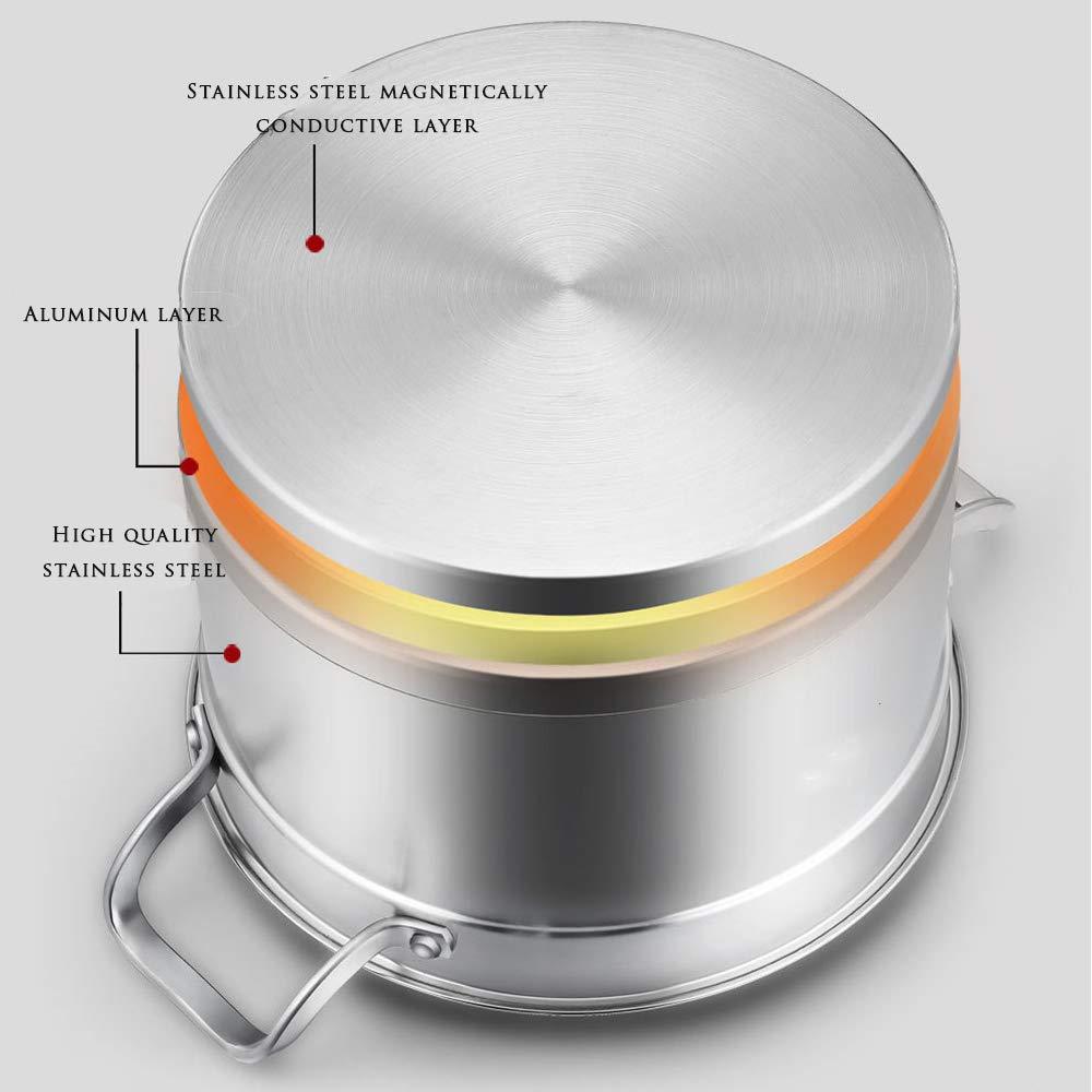 Professional Steel Qualit/é Acier Inoxydable INOX Vapeur Couscoussier Marmite 2 Paniers en Vapeur INOX Couvercle Verre Tremp/é Couvercle Tous Feux Dont Induction,26cm