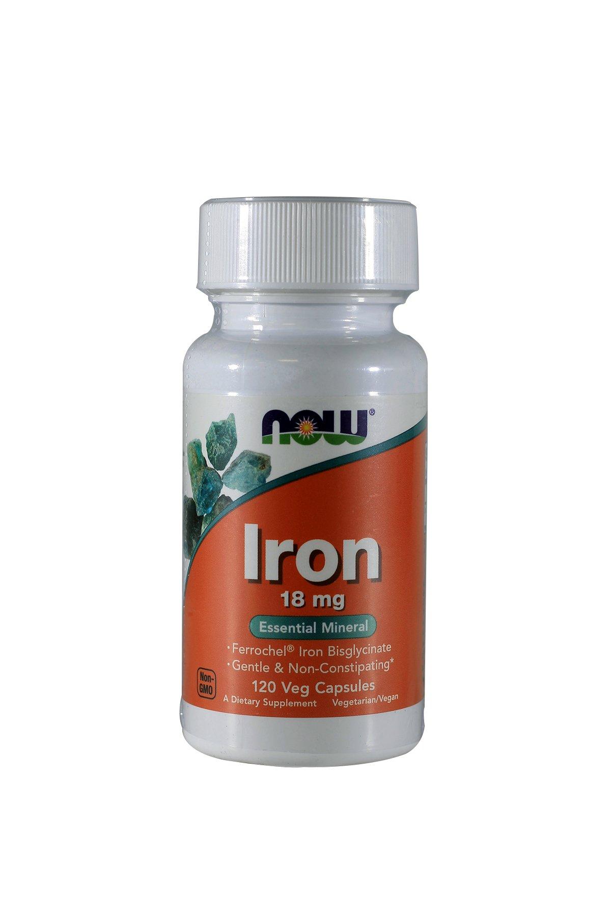 NOW Foods Iron Bisglycinate 18 mg Ferrochel -120 Vegi Caps