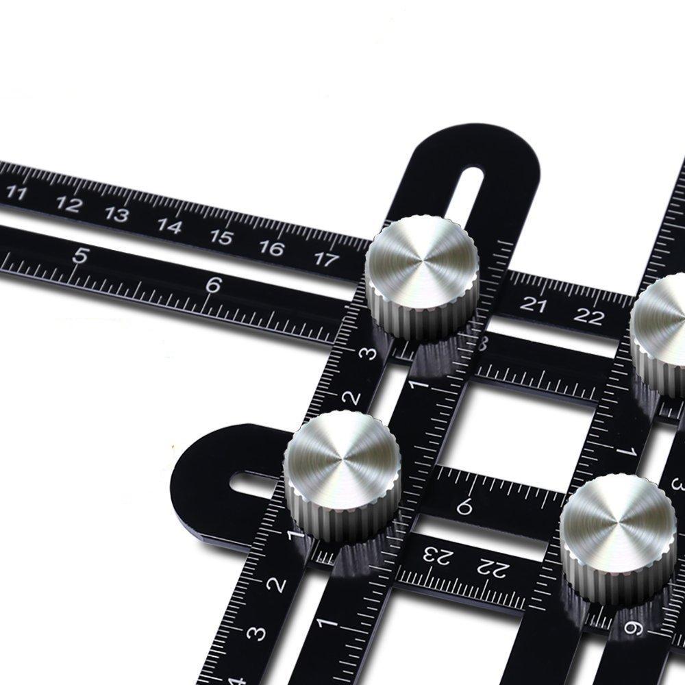 Universal Angularizer Ruler Measuring Ruler BENGOO Multi Tool Angleizer Template Angle Measurement Tool Laser Engraver Premium Aluminum Alloy Full Metal Great Gifts for Builders Carpenters DIY-ers