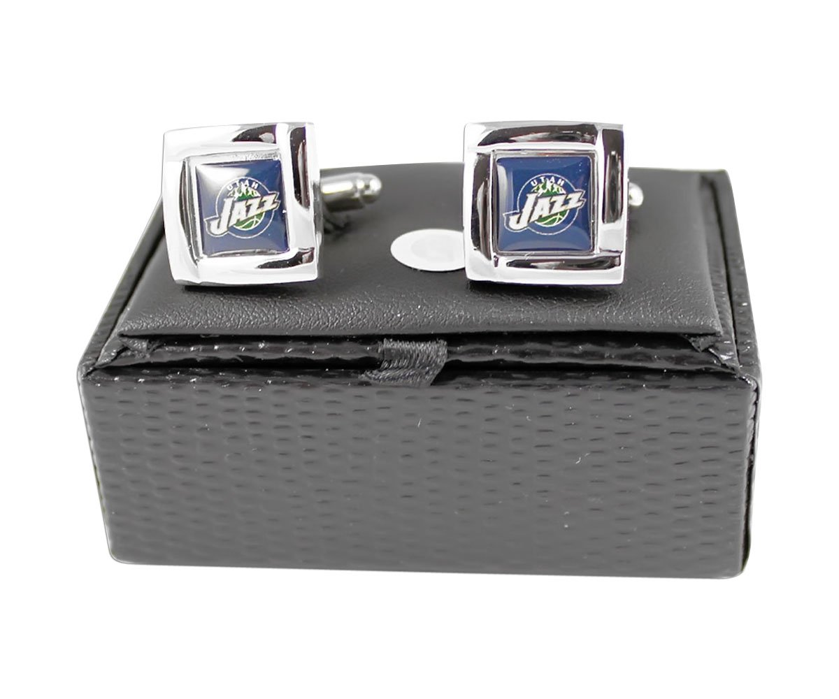 NBA Utah Jazz Square Cufflinks with Square Shape Logo Design Gift Box Set